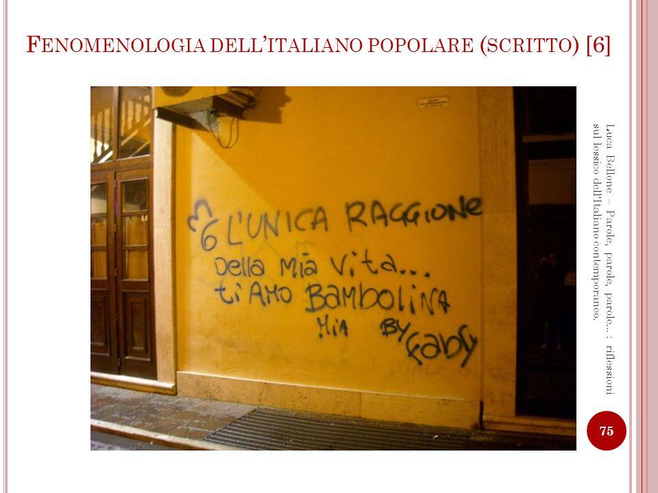 Fenomenologia dell'italiano popolare (scritto) [6]